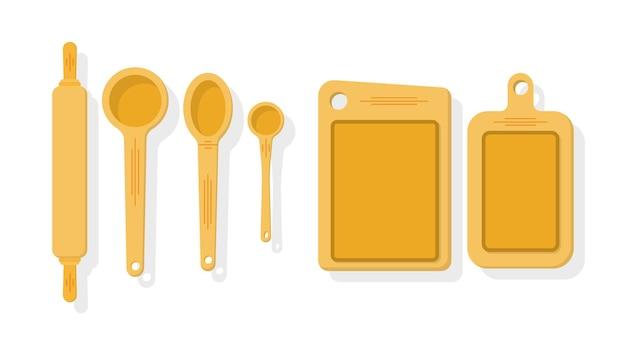 Zestaw narzędzi kuchennych na białym tle ilustracja