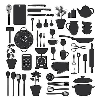 Zestaw narzędzi kuchennych na białym tle