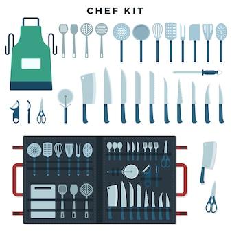 Zestaw narzędzi kuchennych szefa kuchni. kolekcja narzędzi do gotowania, noży do mięsa i warzyw, sprzętu kuchennego z tekstem chef kit