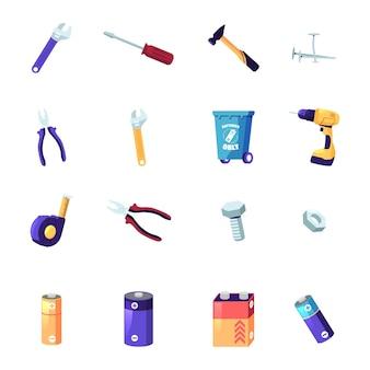 Zestaw narzędzi lub instrumentów złota rączka