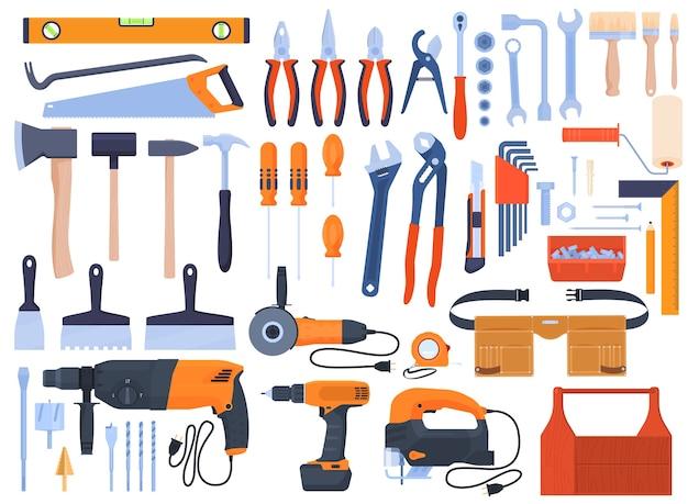 Zestaw narzędzi, narzędzia do naprawy, elektronarzędzia, wiertarka, bułgarska, elektryczna wyrzynarka. narzędzia ręczne, klucze, śrubokręty, szczotki, młotki, piły, szczypce. remont domu.