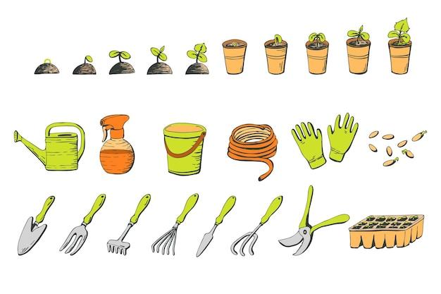 Zestaw narzędzi ogrodniczych i kiełkujące sadzonki na białym tle