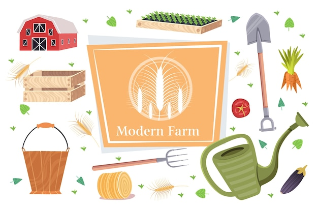 Zestaw narzędzi ogrodniczych i rolniczych kolekcja sprzętu ogrodniczego ekologiczna koncepcja rolnictwa ekologicznego