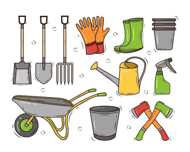 Zestaw narzędzi ogrodniczych wyciągnąć rękę kreskówka doodle stylu