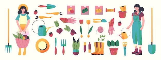 Zestaw narzędzi ogrodniczych wyciągnąć rękę. wszystkie elementy obiektu.