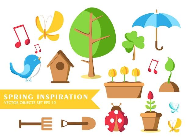 Zestaw narzędzi ogrodniczych ze słowami inspiracja wiosenna oraz biedronka, doniczka, ziemia, konewka, budka dla ptaków i wiele innych przedmiotów
