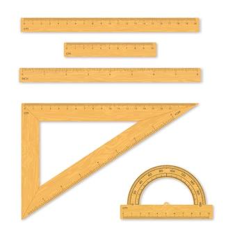 Zestaw narzędzi pomiarowych. władcy, trójkąty, kątomierz.