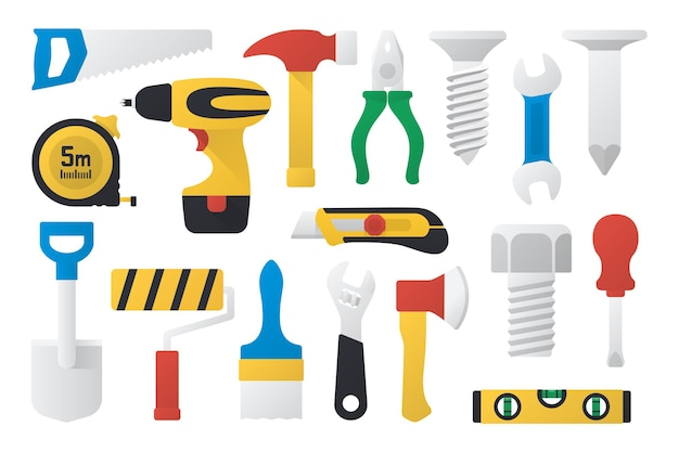 Zestaw narzędzi pracy w płaskiej konstrukcji ilustracja wektorowa zestaw narzędzi roboczych