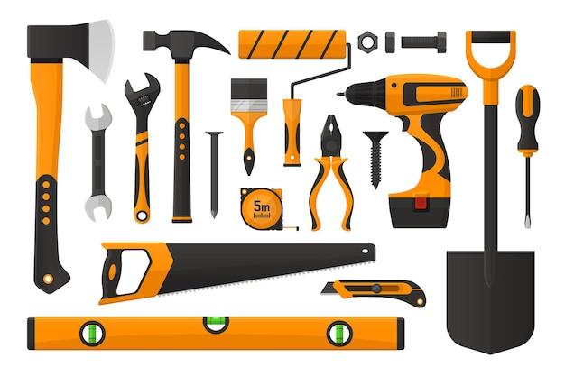 Zestaw narzędzi roboczych w prostej konstrukcji ilustracja wektorowa zestaw narzędzi roboczych