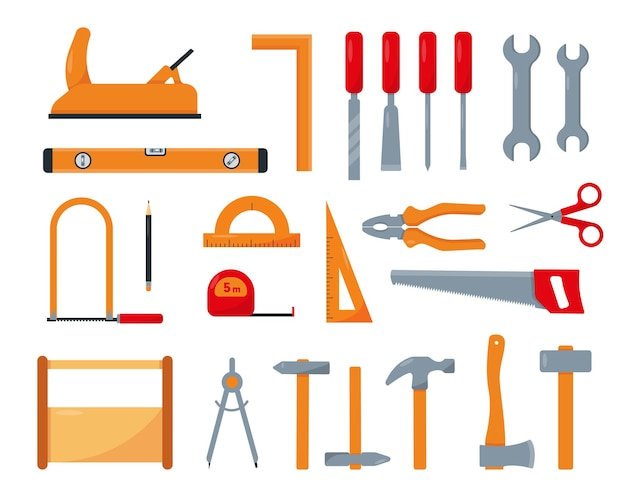 Zestaw narzędzi stolarskich lub naprawy na białym tle.
