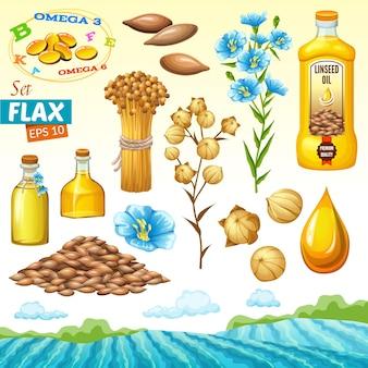 Zestaw nasion lnu olej lniany i kwiaty na białym tle ilustracji wektorowych