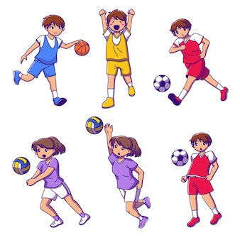 Zestaw nastolatka grającego w koszykówkę, piłkę nożną i siatkówkę, ilustracja kolekcja postaci z kreskówek na białym tle