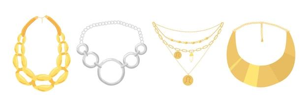 Zestaw naszyjników, biżuteria koraliki na białym tle. złote i srebrne klejnoty, bijoux dla kobiet, boho biżuteria z metali szlachetnych, złote lub srebrne luksusowe wisiorki. ilustracja kreskówka wektor