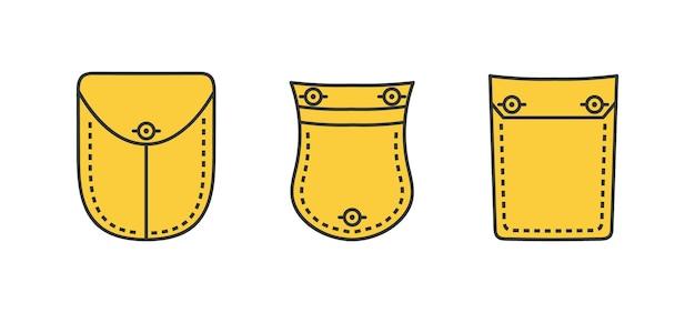 Zestaw naszywanych kieszeni i elementu z tkaniny.