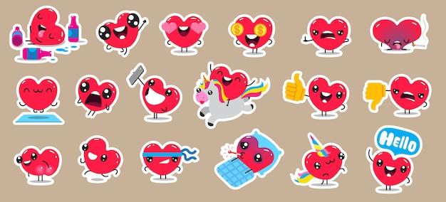 Zestaw naszywek i naklejek z postaciami z cute serc. projekt.