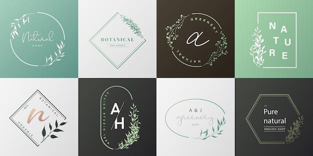Zestaw naturalnego logo dla marki, identyfikacji wizualnej, opakowania i wizytówki.