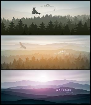 Zestaw naturalnych banerów na projekt plakatu.