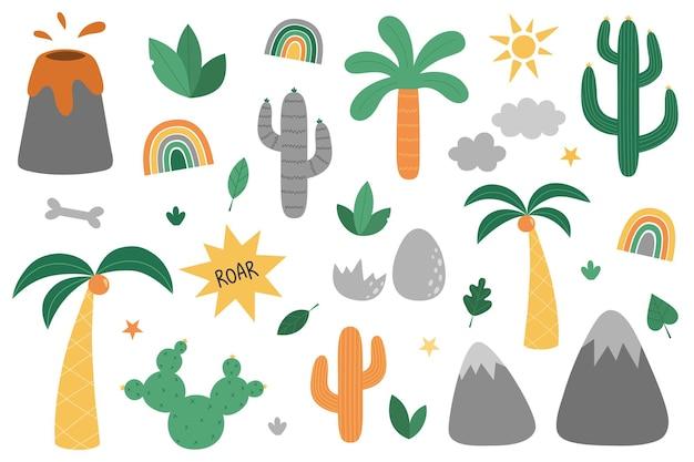 Zestaw naturalnych elementów palma kaktus wulkan jajo dinozaura liście tęczowe słońce rośliny