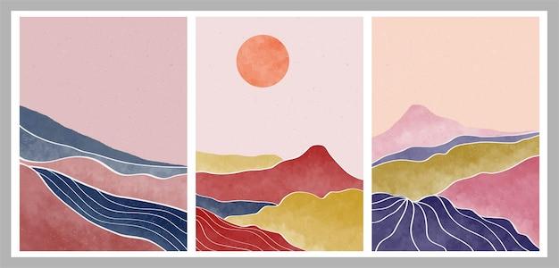 Zestaw naturalnych górskich streszczenie. nowoczesna minimalistyczna grafika z połowy wieku. abstrakcyjny współczesny krajobraz estetyczny.