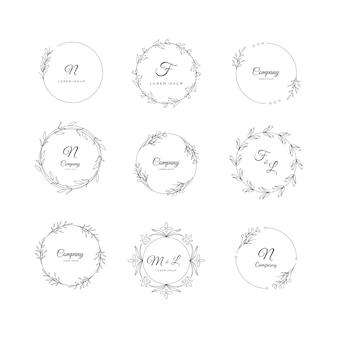 Zestaw naturalnych i organicznych logo dla brandingu, identyfikacji wizualnej
