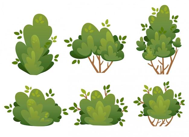 Zestaw naturalnych krzewów i drzew ogrodowych do ilustracji domku i podwórka w parku na stronie internetowej i aplikacji mobilnej na białym tle
