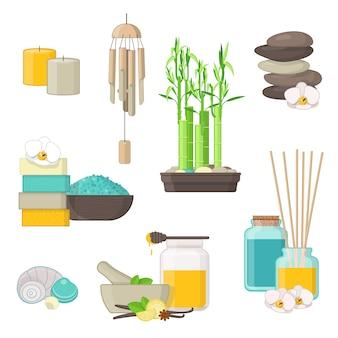 Zestaw naturalnych produktów do spa, masażu i aromaterapii. ilustracja
