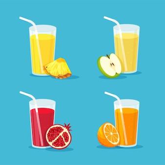 Zestaw naturalnych soków w szkle