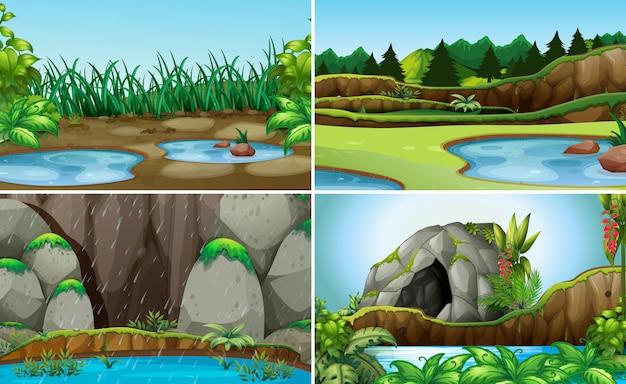 Zestaw natury krajobraz wody
