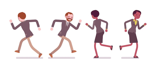 Zestaw nauczyciel płci męskiej i żeńskiej, bieganie, tył, widok z przodu