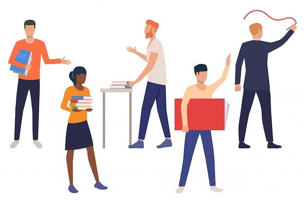 Zestaw nauczycieli płci męskiej i żeńskiej w szkole
