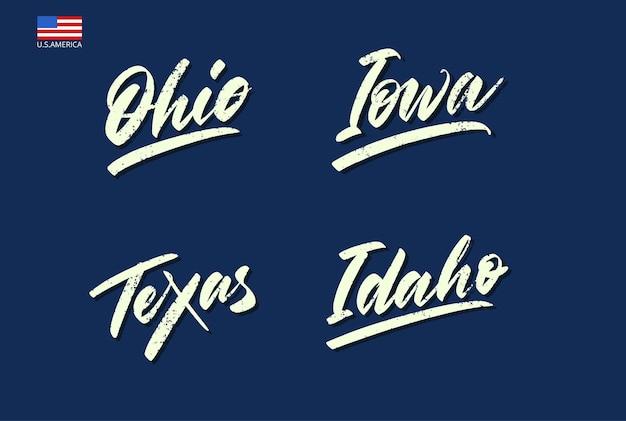 Zestaw nazw stanów ameryki pisany pędzlem. ilustracja wektorowa