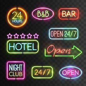 Zestaw neon open sign