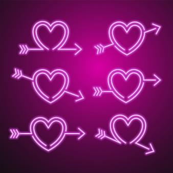 Zestaw neon serca i strzałki