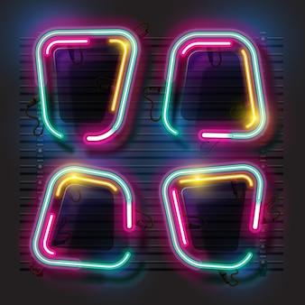 Zestaw neon streszczenie transparent.