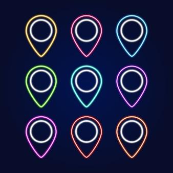 Zestaw neon znak pin mapy