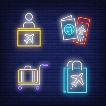 Zestaw neon znak podróży lotniczych. stanowisko odprawy