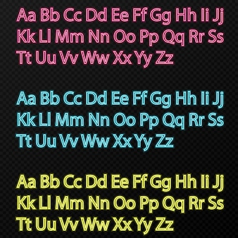 Zestaw neonowego alfabetu w różnych kolorach na przezroczystym tle