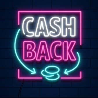 Zestaw neonowego znaku cashback