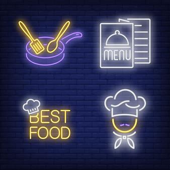 Zestaw neonowych napisów, menu, szefa kuchni i patelni