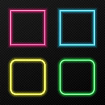 Zestaw neonowych ramek w różnych kolorach. różne kolory neonowego światła png. neon, ramka png. ramki tekstu. światła neonowe. wizerunek.