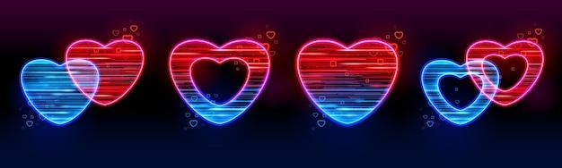 Zestaw neonowych świecących serc mobilnych ikon gier iu ux na białym na czarnym tle.