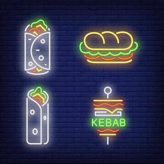 Zestaw neonowych znaków doner kebab i shawarma