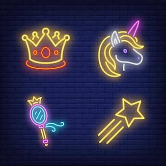 Zestaw neonowych znaków korony, jednorożca, lustra i latającej gwiazdy
