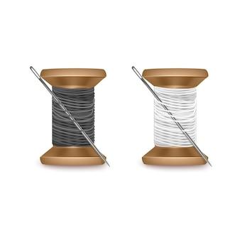 Zestaw nici w kolorach czarnym i białym, zestaw szpulek do nici. drewniana szpulka. ilustracja