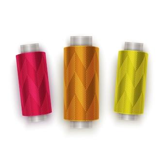 Zestaw nici w kolorach czerwonym, pomarańczowym i żółtym, zestaw szpulek do nici. kolorowa plastikowa szpulka. ilustracja