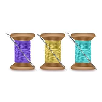 Zestaw nici z igłą w kolorach niebieskim, zielonym i żółtym, zestaw szpulek do nici. kolorowa szpulka drewniana. ilustracja