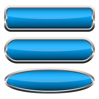 Zestaw niebieski błyszczący przycisków. ilustracja.