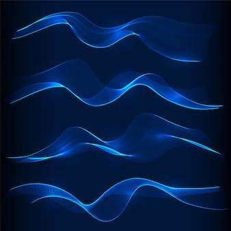 Zestaw niebieski dym fala w ciemności