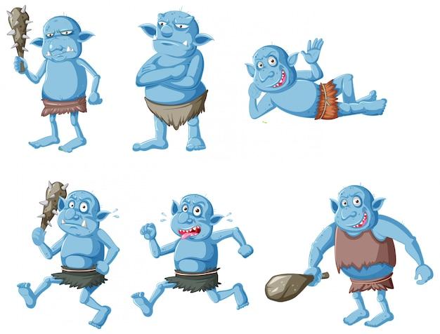 Zestaw niebieski goblin lub troll w różnych pozach w postać z kreskówki na białym tle