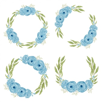 Zestaw niebieski kwiat róży koło w stylu przypominającym akwarele ręcznie malowane